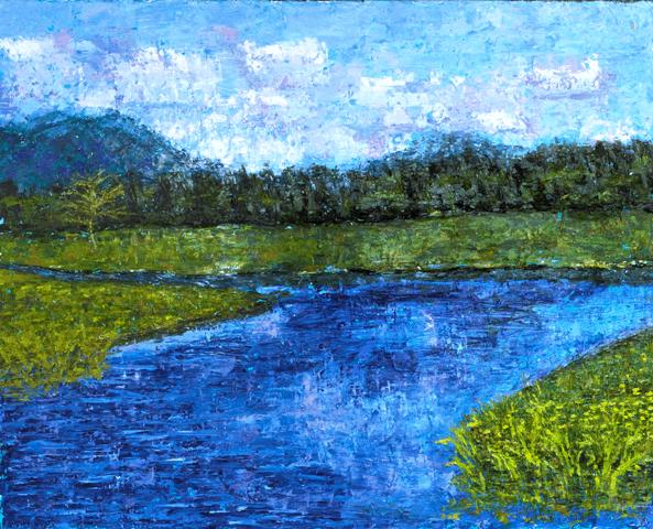 Bass Harbor Marsh oil painting by Kathleen Hall