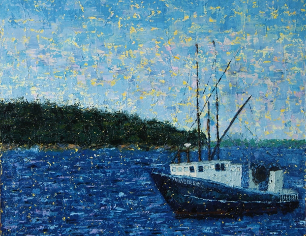 Kathleen Hall, Maine Fishing Boat, oil on canvas, © The Artist