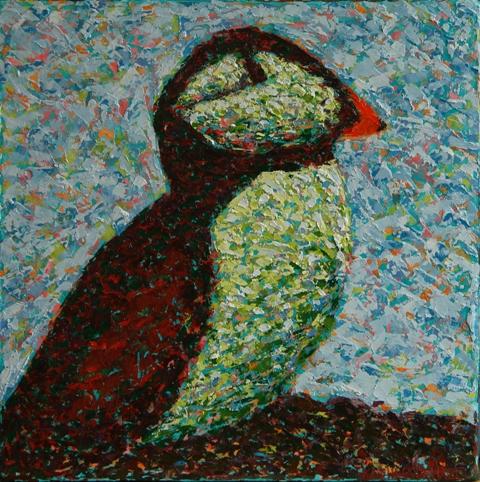 Kathleen Hall, Puffin II, oil on canvas, 10 X 10 © The Artist