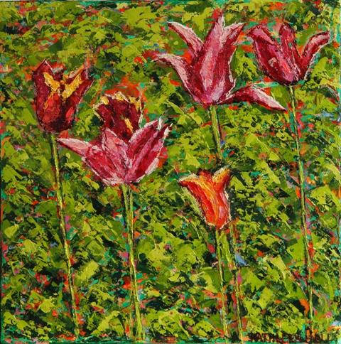 Kathleen Hall, Tulips, oil on canvas, 10 X 10 © The Artist