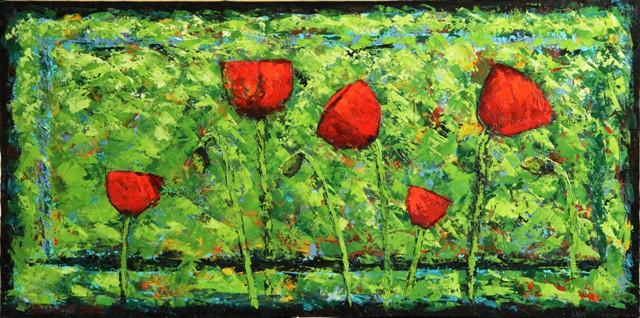 Poppy Party, oil on canvas, 24 X 12 © Kathleen Hall