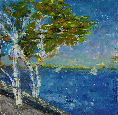 Birches by the Sea, oil on canvas, 8 X 8 © Kathleen Hall