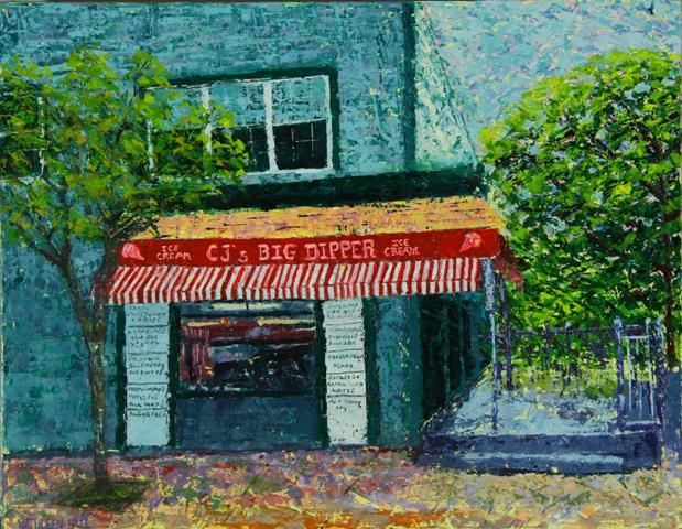 CJ's Ice Cream Shop, oil on canvas, 18 X 14 © Kathleen Hall