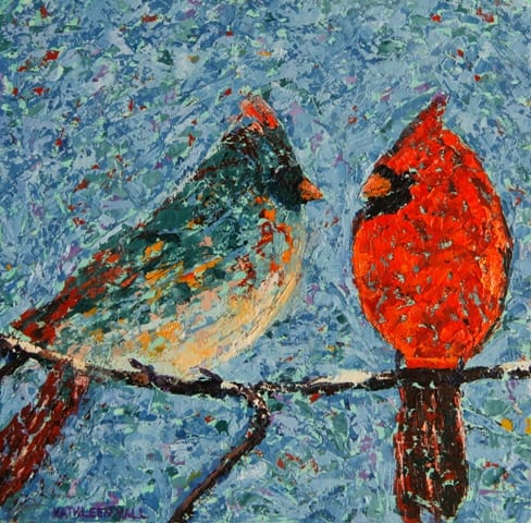 Cardinals in the Snow, oil on canvas, 8 X 8 (c) Kathleen Hall