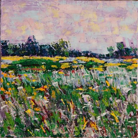 Wildflowers, oil on canvas, 10 X 10 (c) Kathleen Hall