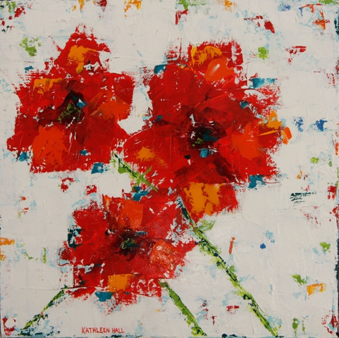 Three Red Poppies (white background, oil on canvas, 10 X 10 (c) Kathleen Hall